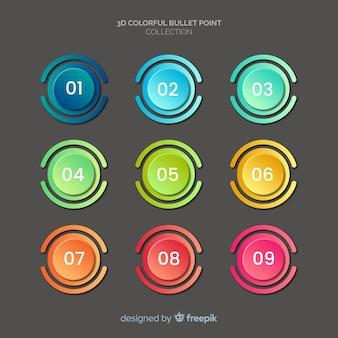 Omcirkelde kleurrijke bullet point-collectie