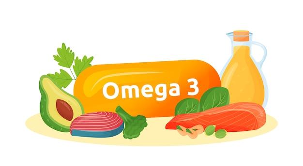 Omega 3 voedselbronnen cartoon afbeelding. gezonde vetten in vis, avocado, noten, oliekleurobject. meervoudig onverzadigde vetzuren voor geestelijke gezondheid op witte achtergrond