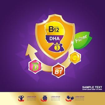 Omega-logo voor vitamine en voeding voor kinderen.