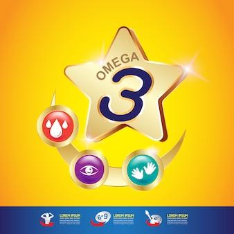 Omega-vitamine en voedingsstoffen voor kinderen vector concept
