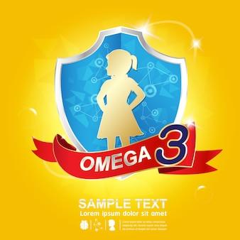 Omega-voeding en vitamine - conceptlogoproducten voor kinderen.