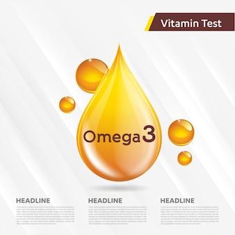 Omega3 collectie illustratie gouden druppel