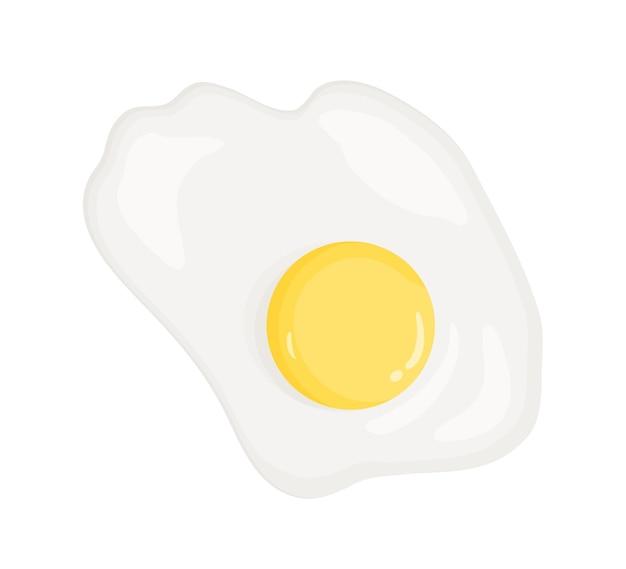 Omelet, gebakken ei vectorillustratie. gezond eten, dieetproduct, goed voedingsproduct. ontbijtschotel, lunchmaaltijd bovenaanzicht. ei-eiwit en dooier geïsoleerd op een witte achtergrond.