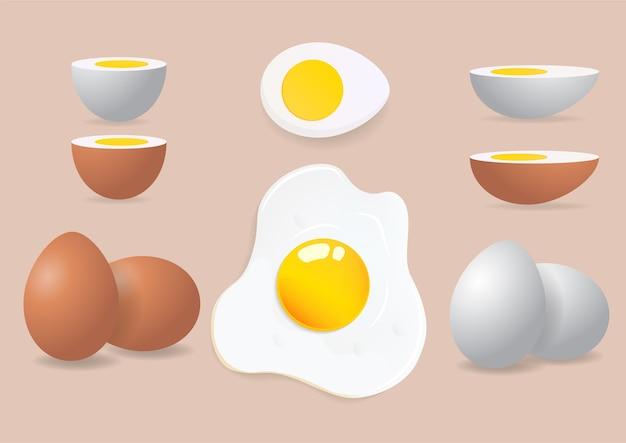 Omelet, verse en gekookte eieren