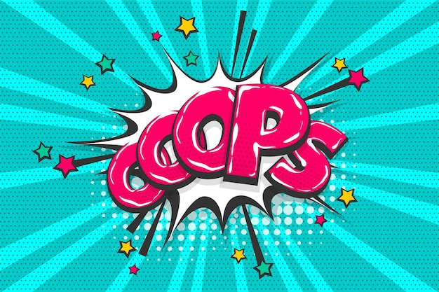 Omg ouch oeps komische tekst collectie geluidseffecten pop-art stijl vector tekstballon