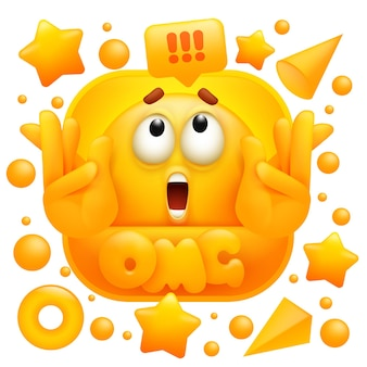 Omg web sticker. geel emoji-teken in 3d-cartoonstijl.