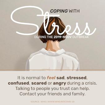 Omgaan met stress tijdens de covid-19-pandemie voor illustratie van het welzijn van de geestelijke gezondheid