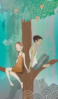 Omhelzingen van een liefdevol stel in de boom