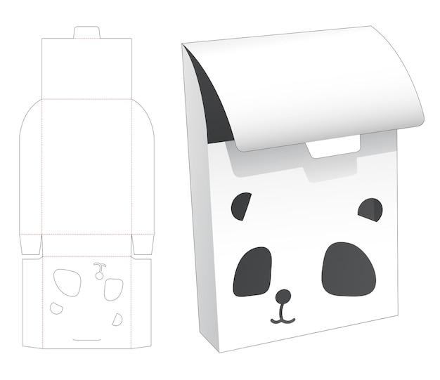 Omklapbare blikken doos met cartoonvormig venster met panda-gezicht op gestanste sjabloon met klep