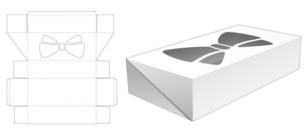 Omklapbare blikken doos met gestanste sjabloon met strik