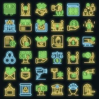 Omkoping pictogrammen instellen. overzicht set van omkoping vector iconen neon kleur op zwart