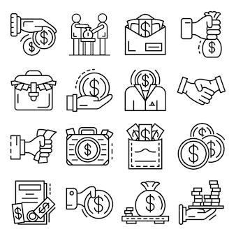 Omkoping pictogramserie. overzichtset van omkoping vector pictogrammen