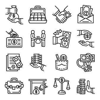 Omkoping pictogramserie. overzichtsreeks omkoperij vectorpictogrammen voor geïsoleerd webontwerp
