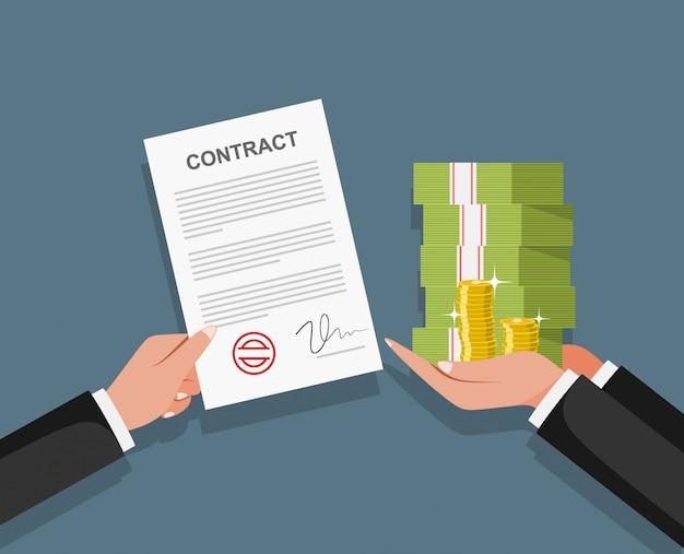 Omkoping van contracten. zakenman betaalt voor contract. corruptie in het bedrijfsleven.