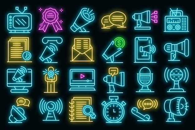 Omroeper pictogrammen instellen. overzicht set van omroeper vector iconen neon kleur op zwart