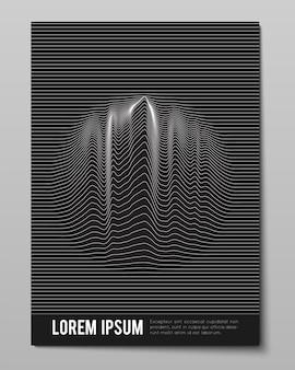 Omslag met gestreepte zwart witte kromgetrokken lijnen