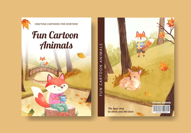 Omslagboeksjabloon met herfstdier in aquarelstijl