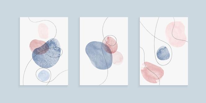 Omslagen uit de vrije hand met handgetekende aquarel penseelstreekvormen