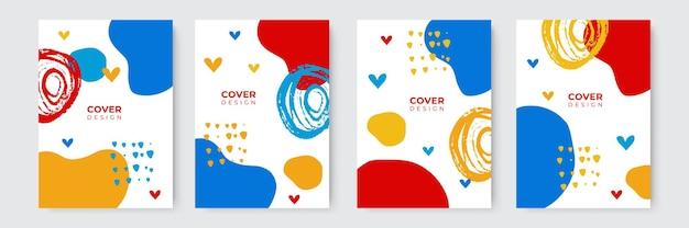 Omslagontwerp met fruit, lijn, cirkel, regenboogpatroon. hand getekende creatieve bloemen. kleurrijke artistieke achtergrond. het kan worden gebruikt voor uitnodiging, kaart, omslagboek, notitieboekje. vector illustratie
