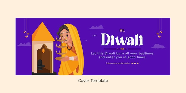 Omslagontwerp van happy diwali festival of lights-sjabloon