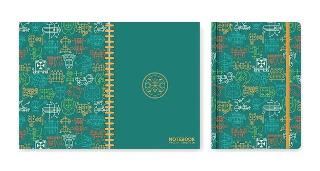 Omslagontwerp voor notitieboekjes of plakboeken met occulte sigils.