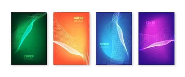 Omslagset met golvende stippen. vloeiende verlopen met wazige golven. moderne postercollectie in vloeibare kleuren.