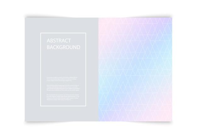 Omslagsjabloonontwerp met geometrische vormen op pastel achtergrond.