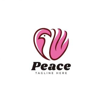 Omtrek en kleur vullen logo van vogel en hart