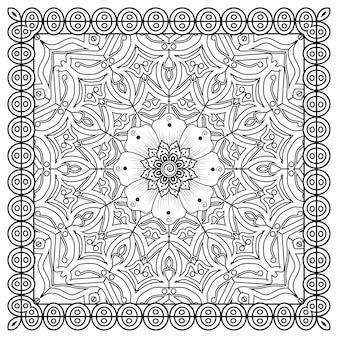 Omtrek vierkant in mehndi-stijl. decoratief ornament in etnische oosterse stijl. doodle sieraad. kleurplaat.