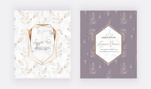 Omvat kaartenontwerp met gouden geometrische marmeren kaders en lijnbladeren.