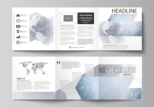 Omvat ontwerpsjablonen voor vierkante brochure of flyer