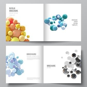 Omvat sjablonen met veelkleurige 3d-bollen, bubbels, ballen.
