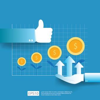 Omzetgroei bedrijfswinsten met duim omhoog gebaar. inkomen salarisverhoging. financieringsprestaties van rendement op investering roi-concept met pijl. dollarteken vlakke stijl
