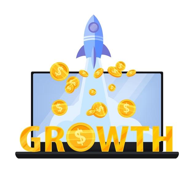 Omzetgroei of geldinkomen verhogen het financiële concept met laptop, vliegende dollarmunten, gouden letters.