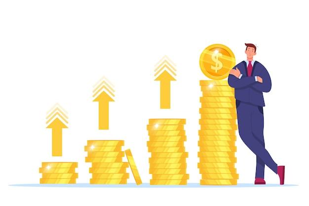 Omzetstijging, geldopbrengstgroei of rendement op investeringen vectorillustratie met zakenman, gestapelde gouden munten.