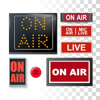 On air broadcasting signs