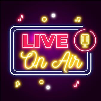 On air neon frame met microfoon