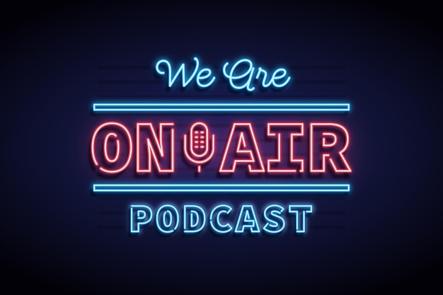 On air neon frame podcast
