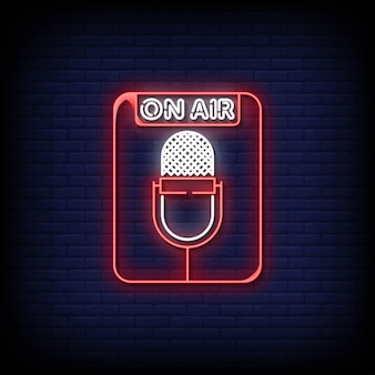 On air neon signs style tekst vector
