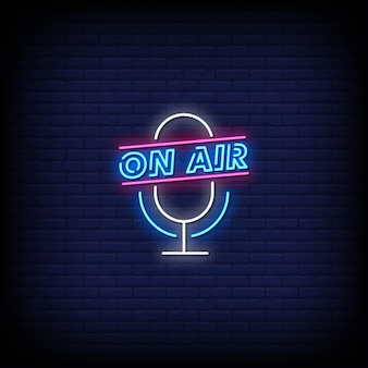 On air neon signs style text