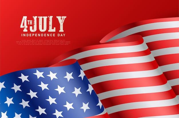 Onafhankelijk amerika van 4 juli met cijfers op een rode achtergrond en de vlag van amerika