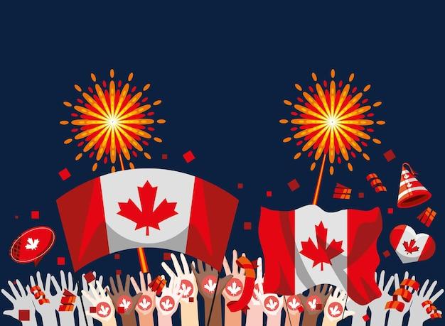 Onafhankelijkheid canadese feestelijke patriottische kaart