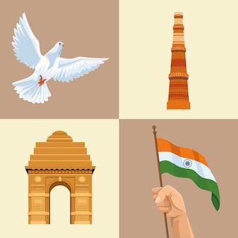 Onafhankelijkheid india vier pictogrammen