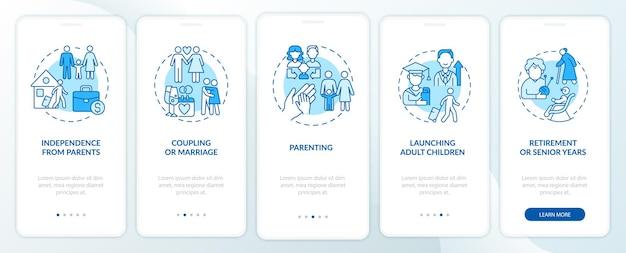 Onafhankelijkheid van het onboarding-paginascherm van de mobiele app voor ouders. koppeling en huwelijk walkthrough 5 stappen grafische instructies met concepten. ui, ux, gui vectorsjabloon met lineaire kleurenillustraties