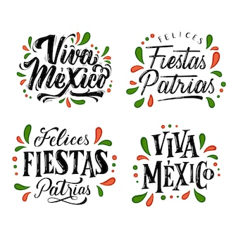Onafhankelijkheid van mexico belettering badges