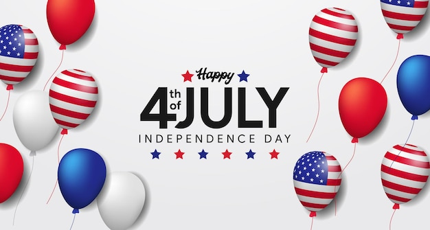 Onafhankelijkheid vs met vliegende amerikaanse vlag van de heliumballon. 4 juli