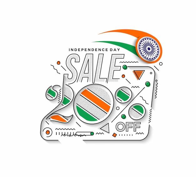 Onafhankelijkheidsdag 20% korting op uitverkoop kortingsbanner. korting aanbieding prijs. vector moderne bannerillustratie.