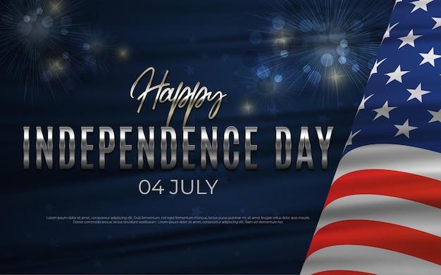 Onafhankelijkheidsdag 4 juli kerstkaart uitnodiging met handheld vuurwerk in de kleuren van de vs.
