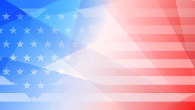 Onafhankelijkheidsdag abstracte achtergrond met elementen van de amerikaanse vlag in rode en blauwe kleuren
