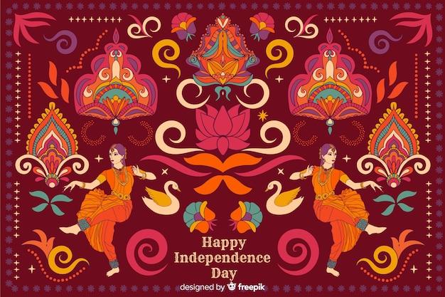 Onafhankelijkheidsdag achtergrond in indiase kunststijl